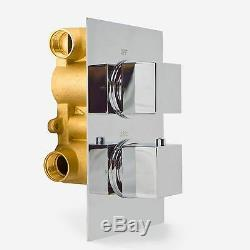 2 Dial 2 Way Square Concealed Thermostatic Mixer Valve Abs Shower Hand Held Kit