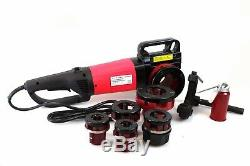 2 in 1 Reversible Electric Pipe Threader Machine withCutter & 6 Dies NPT Threading