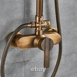 Antique Brass Shower Faucet Taps Set Retro Rainfall Bathtub Shower System Mixer