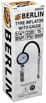 BERLIN Professional Tyre Inflator With Gauge Air Line Tyre Pump Pressure Tester