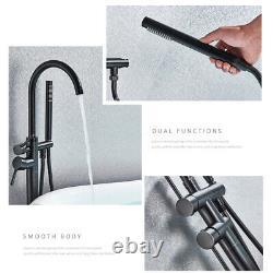 Black Bathtub Faucet Free Standing 2 Handles Handheld Shower Taps Mixer Tap UK