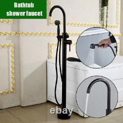 Black Bathtub Taps Free Standing with 2 Handle Handheld Shower Bath Filler Mixer