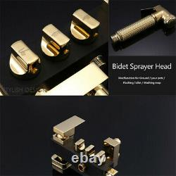 Black+Gold Shower Tap Set Rainfall Square Shower Head With Bidet System Mixer Tap