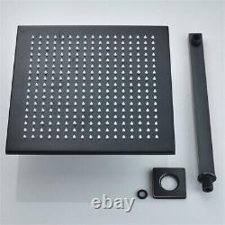 Black Square Shower Faucet Set Wall Mounted 16 Shower Head with Handshower Mixer