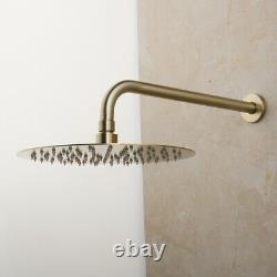 Brushed Gold Bathroom Shower Taps Set Mixer Wall Mount With Hand Held Spray Tap