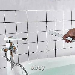 Chrome Waterfall Free Standing Floor Mounted Bath Taps Hand Held Shower Bathtub