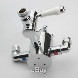 Complet 8 Traditional Victorian Thermostatic Shower Mixer Set Valve Kit Exposed