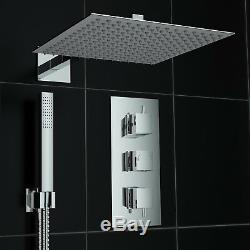 Concealed 2 Way Square Wall 300mm Thermostatic Mixer Shower with Handheld