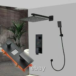 Concealed Shower Tap Mixer Valve LCD Display 12 Overhead with Rail Bathroom Set