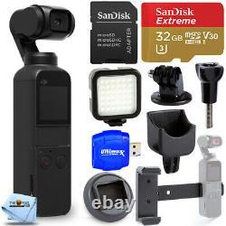 DJI Osmo Pocket Gimbal Camera with 4K Video + 32GB + LED Light Accessory Bundle