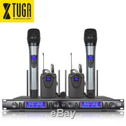 EW240 UHF Wireless Microphone System 4Channel 2 Cordless Handheld 2 Lavalier Mic