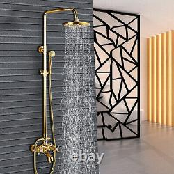Gold 8 Adjustable Shower Head Set Bathtub Faucet Bathroom Tap Wall Mounted UK