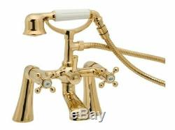 Gold Bath Shower Mixer Tap Traditional Style Tudor Tud03/501 Deva Range Taps Set