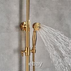 Gold Shower Faucet Tap 20cm Rainfall Shower Head With Handshower Set Mixer Tap UK