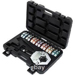 Hydraulic Hose Crimper Tool Kit 7 Dies A/C Air Condtioning Handheld Crimping Set