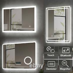 LED Bathroom Mirror Lights Touch Sensor Switch Illuminated Demister Pad Heated