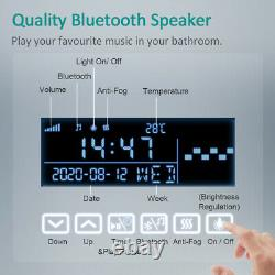 LED Bathroom Mirror with Bluetooth Speaker Clock Demister Pad Touch Lights IP44