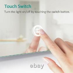 LED Illuminated Bathroom Mirror with Demister Touch Sensor Light Wall Mounted