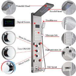 LED Shower Panel Column Massage Body Jets Stainless Steel Bathroom Mixer Unit UK