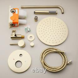 Luxury Brushed Gold Bathroom Concealed Shower Faucet Set 9.8 inch Head Hand Tap