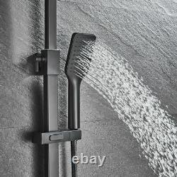 Matte Black Shower Faucet Tap 20CM Rain Shower Head With Hand Shower Set Mixer Tap