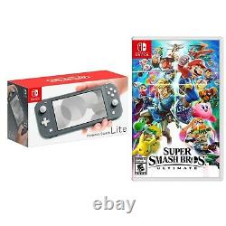 NEW Nintendo Switch Lite Gray Handheld Console + FREE Super Smash Bros Ultimate