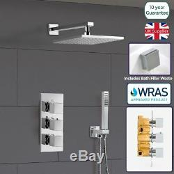 Olive 3 Way Square Concealed Thermostatic Mixer Valve Hand Held Bath Shower Kit