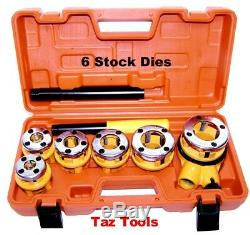 Pipe Threader With 6 Stock Dies 1/4, 3/8, 1/2, 3/4, 1, 1-1/4 inch Ratchet Handle