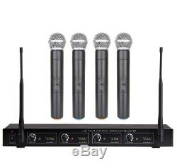 Professional UHF 4 Channel Wireless Microphone System 4 Handheld Microphone Set