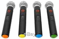 Rockville RWM90U Quad UHF Handheld Wireless Microphone System withLCD+Metal Casing