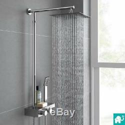 Square Exposed Thermostatic Mixer Shower Kit With Handheld & Storage Shelf