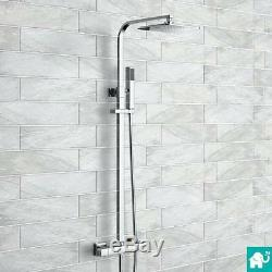 Square Exposed Thermostatic Shower Kit with Handheld & Valve Set in Chrome