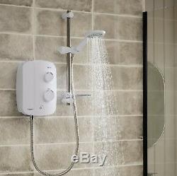 Triton Silent Thermostatic Electric Power Shower Bathroom White Chrome TAS2000SR
