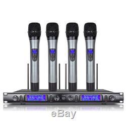 UHF 4 Channel Handheld Metal Mic Wireless Microphone System Karaoke DJ singing